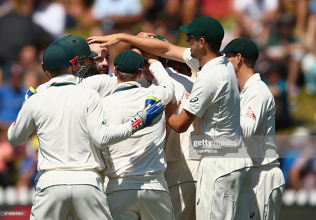 <a gi-track='captionPersonalityLinkClicked' href=/galleries/search?phrase=Nathan+Lyon+-+Cricketer&family=editorial&specificpeople=11072184 ng-click='$event.stopPropagation()'>Nathan Lyon</a> of Australia celebrates after taking the wicket of Martin Guptill of New Zealand during day three of the Test match between New Zealand and Australia at Basin Reserve on February 14, 2016 in Wellington, New Zealand.