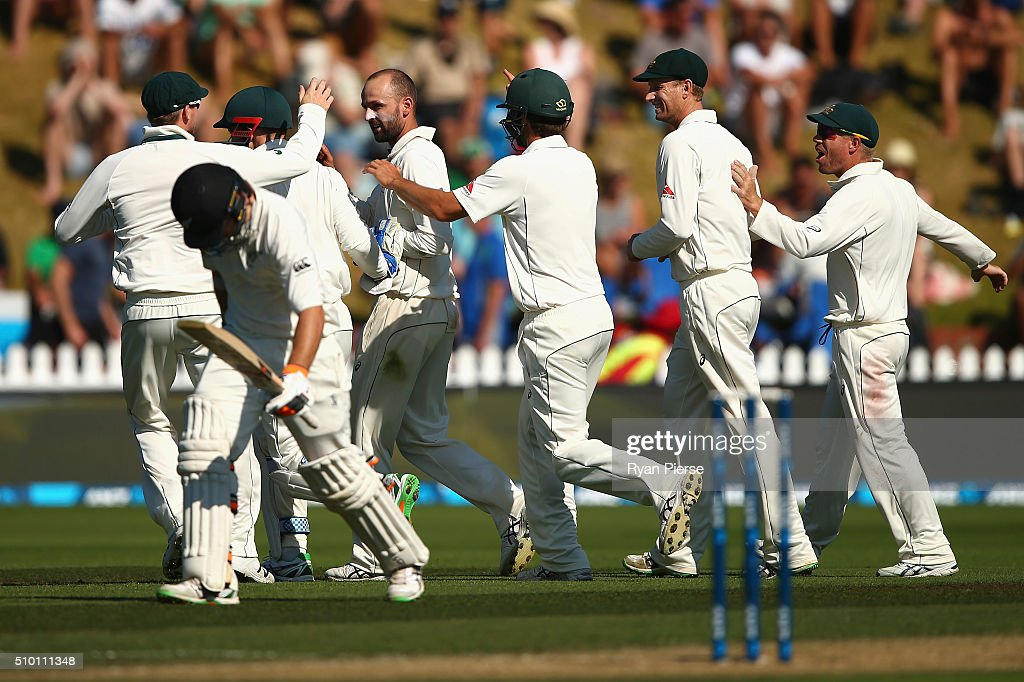 Nathan Lyon of Australia celebrates after taking the wicket of Tom Latham of New Zealand during day three of the Test match between New Zealand and Australia at Basin Reserve on February 14, 2016 in Wellington, New Zealand.