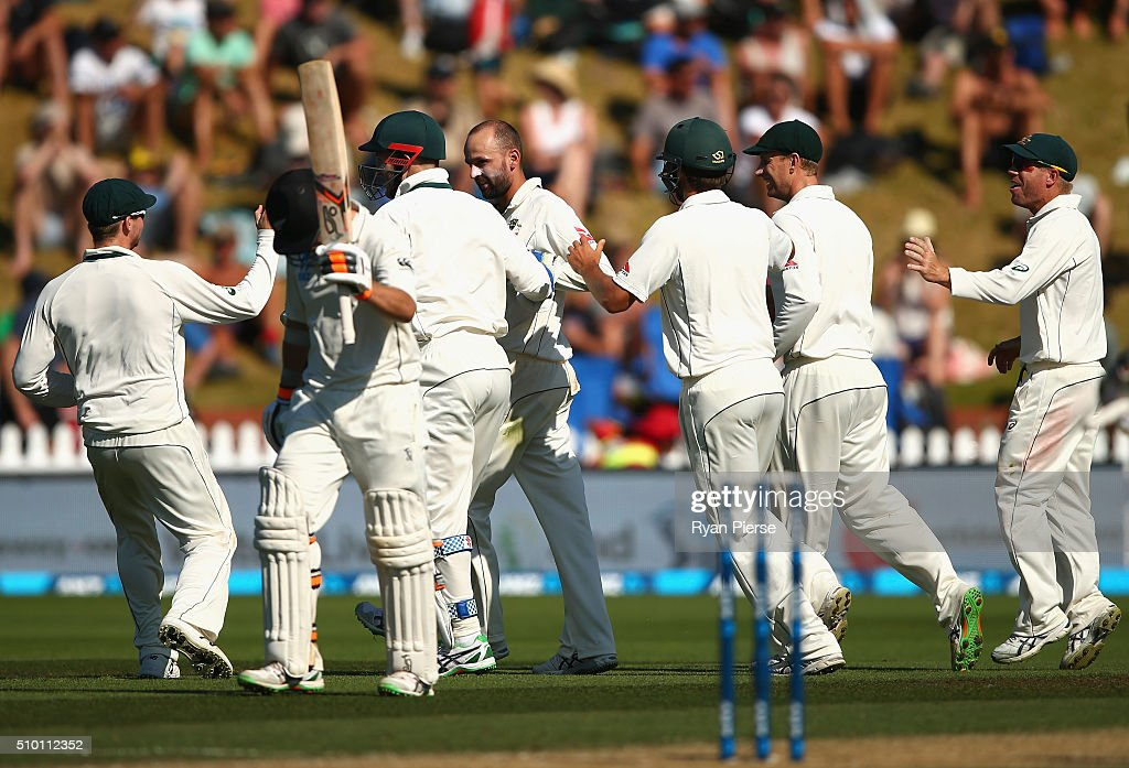 <a gi-track='captionPersonalityLinkClicked' href=/galleries/search?phrase=Nathan+Lyon+-+Cricketer&family=editorial&specificpeople=11072184 ng-click='$event.stopPropagation()'>Nathan Lyon</a> of Australia celebrates after taking the wicket of Tom Latham of New Zealand during day three of the Test match between New Zealand and Australia at Basin Reserve on February 14, 2016 in Wellington, New Zealand.
