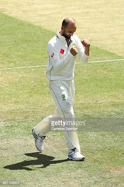 Nathan Lyon of Australia celebrates dismissing Younis Khan of Pakistan during day five of the Third Test match between Australia and Pakistan at...