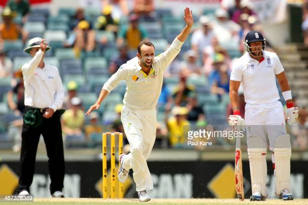 Nathan Lyon of Australia celebrates the wicket of Ben Stokes of England during day five of the Third Ashes Test Match between Australia and England...