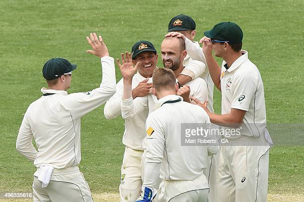 Nathan Lyon of Australia celebrates the wicket of BJ Watling of New Zealand during day five of the First Test match between Australia and New Zealand...