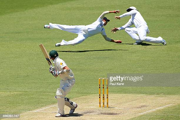 Nathan Lyon of Australia edges the ball as Joe Root of England attempts to take a catch during day two of the Third Ashes Test Match between...