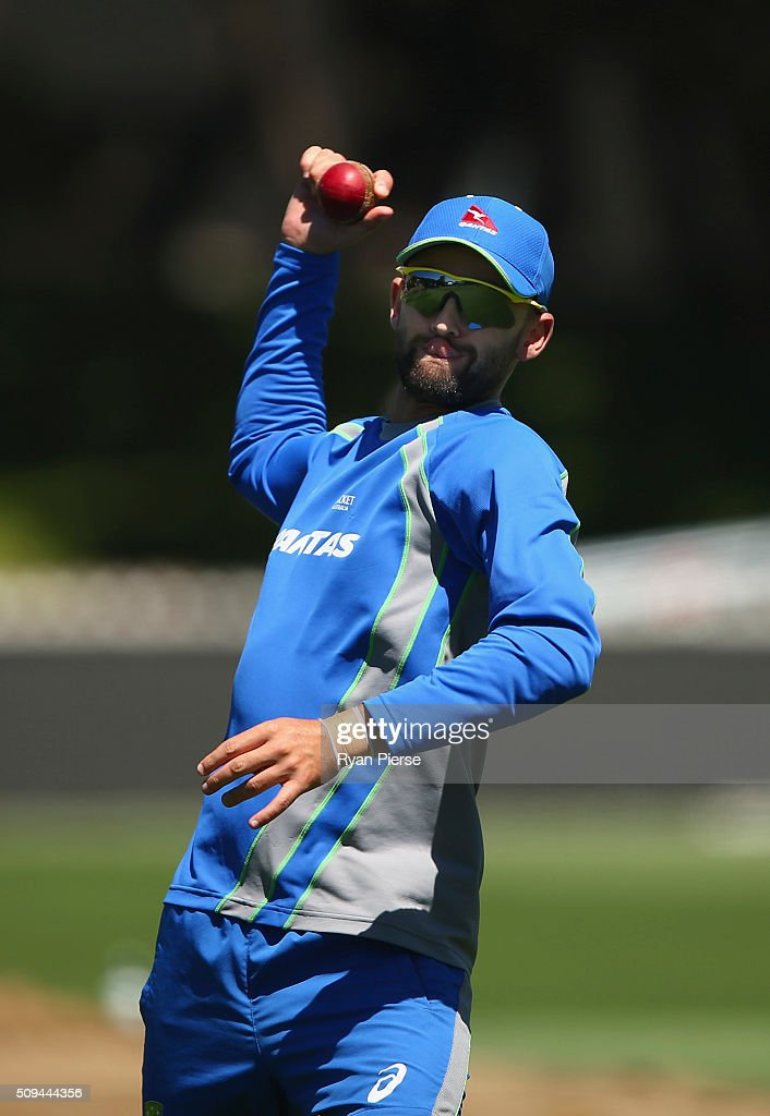 <a gi-track='captionPersonalityLinkClicked' href=/galleries/search?phrase=Nathan+Lyon+-+Cricketer&family=editorial&specificpeople=11072184 ng-click='$event.stopPropagation()'>Nathan Lyon</a> of Australia fields during an Australian nets session at Basin Reserve on February 11, 2016 in Wellington, New Zealand.