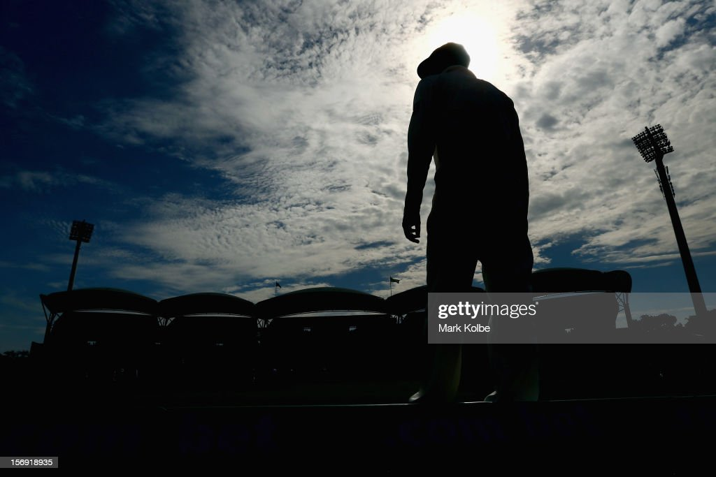 Nathan Lyon of Australia fields during day four of the Second Test Match between Australia and South Africa at Adelaide Oval on November 25, 2012 in Adelaide, Australia.