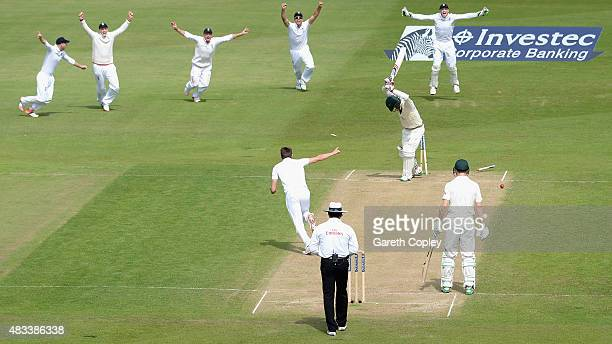 Nathan Lyon of Australia is bowled by Mark Wood of England to win the 4th Investec Ashes Test match between England and Australia at Trent Bridge on...