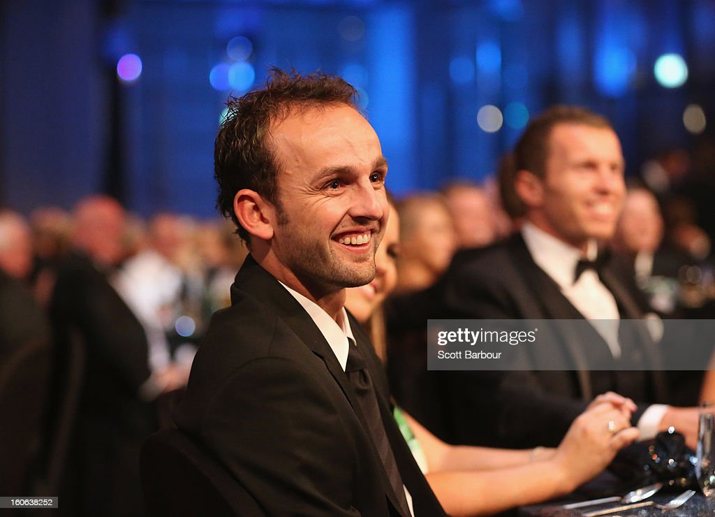 Nathan Lyon of Australia looks on during the 2013 Allan Border Medal awards ceremony at Crown Palladium on February 4, 2013 in Melbourne, Australia.