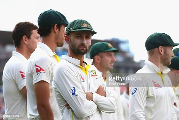 Nathan Lyon of Australia looks on during the presentation during day four of the 5th Investec Ashes Test match between England and Australia at The...