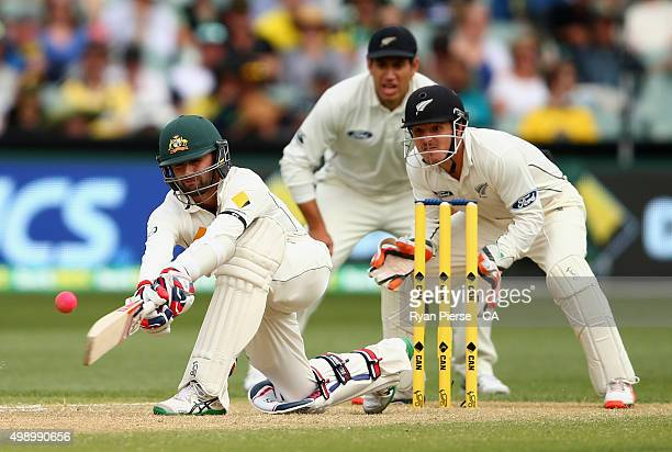 Nathan Lyon of Australia plays to a delivery from Mitchell Santner of New Zealand and was give not out on DRS review during day two of the Third Test...