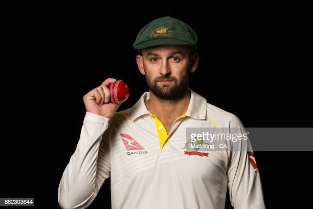 Nathan Lyon of Australia poses during the Australia Test cricket team portrait session at Intercontinental Double Bay on October 15 2017 in Sydney...