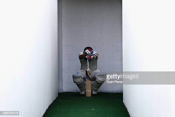 Nathan Lyon of Australia prepares to bat during Day Two of the Second Test between Pakistan and Australia at Sheikh Zayed Stadium on November 1 2014...
