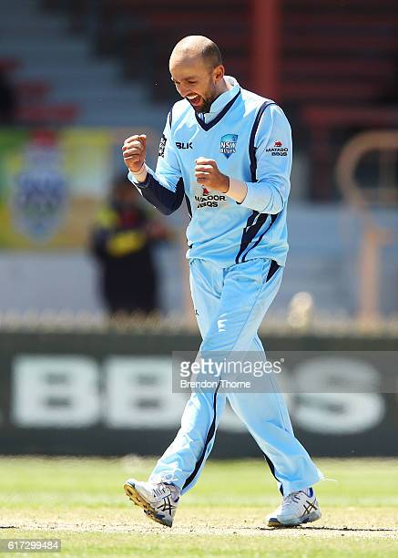 Nathan Lyon of the Blues celebrates after claiming the wicket of Ben Cutting of the Bulls during the Matador BBQs One Day Cup Final match between...