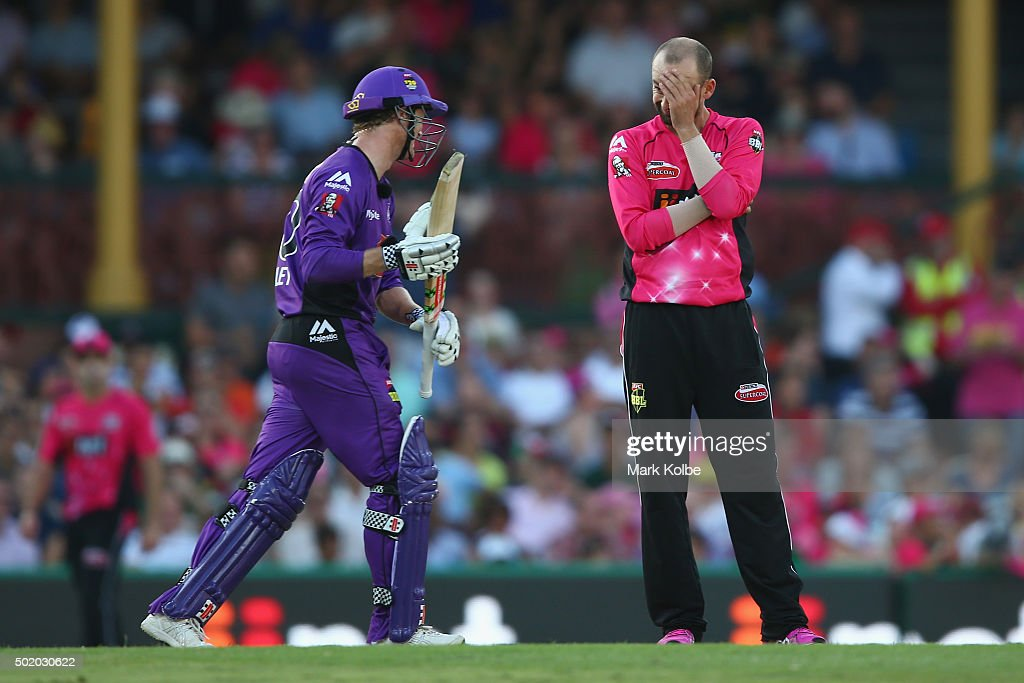 <a gi-track='captionPersonalityLinkClicked' href=/galleries/search?phrase=Nathan+Lyon+-+Cricketer&family=editorial&specificpeople=11072184 ng-click='$event.stopPropagation()'>Nathan Lyon</a> of the Sixers reacts after a missed chance off the batting of <a gi-track='captionPersonalityLinkClicked' href=/galleries/search?phrase=George+Bailey+-+Cricket+Player&family=editorial&specificpeople=9737020 ng-click='$event.stopPropagation()'>George Bailey</a> of the Hurricanes during the Big Bash League match between the Sydney Sixers and the Hobart Hurricanes at Sydney Cricket Ground on December 20, 2015 in Sydney, Australia.