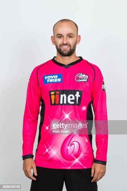 Nathan Lyon poses during the Sydney Sixers BBL headshots session at Sydney Cricket Ground on December 9 2017 in Sydney Australia