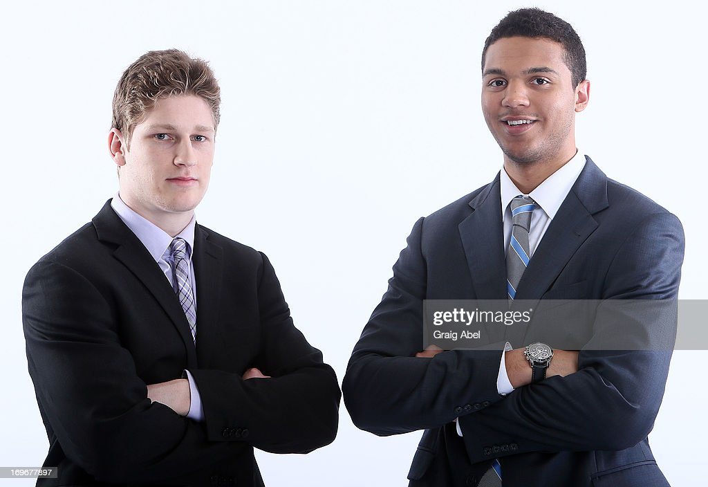 Nathan MacKinnon and Seth Jones have their formal portrait taken during the 2013 NHL Combine May 30, 2013 at the Westin Bristol Place Hotel in Toronto, Ontario, Canada.