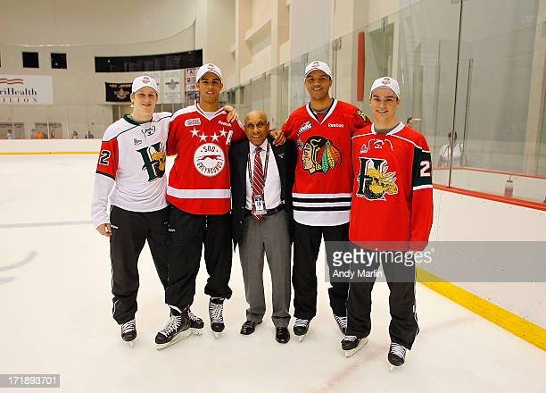 Nathan MacKinnon Darnell Nurse Willie O'Ree Seth Jones and Jonathan Drouin attend the 2013 NHL Draft Top Prospects Clinic at Prudential Center on...
