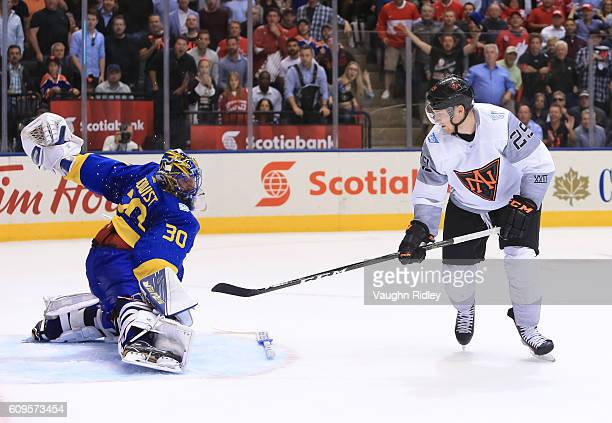 Nathan MacKinnon of Team North America scores an overtime goal on Henrik Lundqvist of Team Sweden during the World Cup of Hockey 2016 at Air Canada...