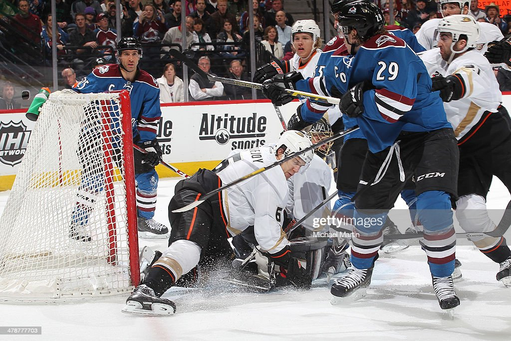 Nathan MacKinnon #29 of the Colorado Avalanche is called for high sticking cancelling a goal against the Anaheim Ducks at the Pepsi Center on March 14, 2014 in Denver, Colorado. The Ducks defeated the Avalanche 6-4.