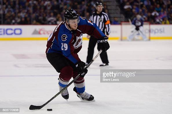 Nathan MacKinnon of the Colorado Avalanche lines up for a shot on goal during the third period at the Pepsi Center on January 6 2016 in Denver...