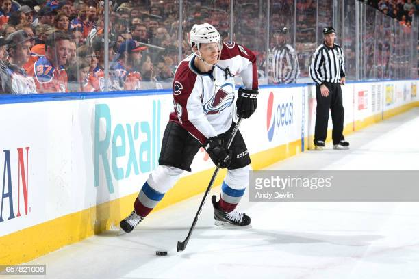 Nathan MacKinnon of the Colorado Avalanche skates during the game against the Edmonton Oilers on March 25 2017 at Rogers Place in Edmonton Alberta...