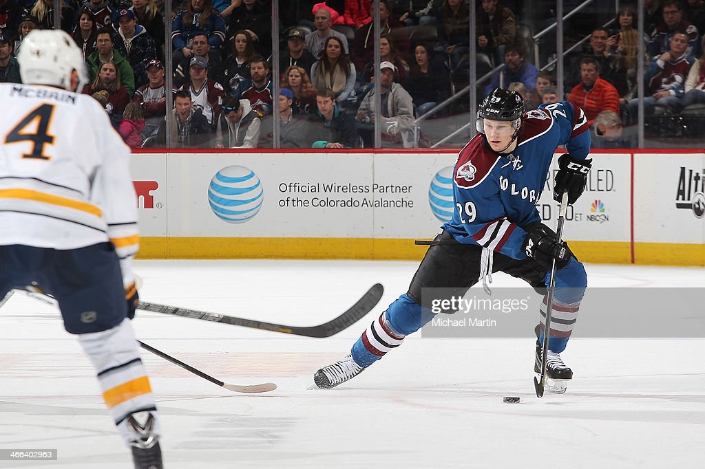 <a gi-track='captionPersonalityLinkClicked' href=/galleries/search?phrase=Nathan+MacKinnon&family=editorial&specificpeople=8610127 ng-click='$event.stopPropagation()'>Nathan MacKinnon</a> #29 of the Colorado Avalanche skates with the puck against the Buffalo Sabres at the Pepsi Center on February 1, 2014 in Denver, Colorado. The Avalanche defeated the Sabres 7-1.