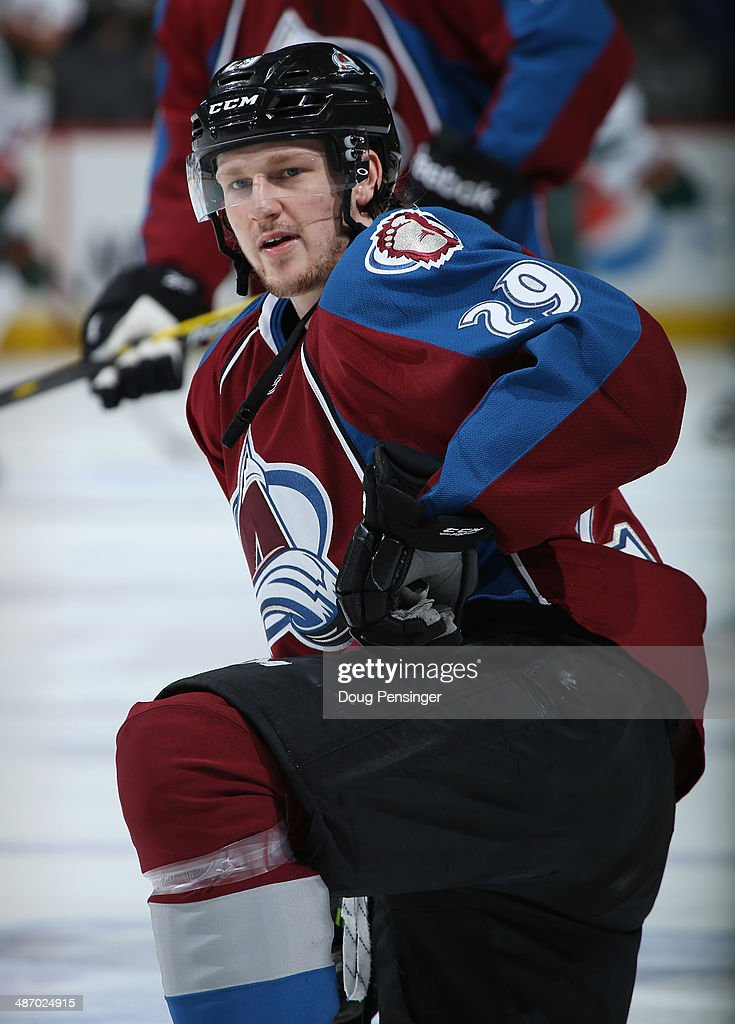 Nathan MacKinnon #29 of the Colorado Avalanche warms up prior to the game as he went on to score the game winning goal against the Minnesota Wild Game Five of the First Round of the 2014 NHL Stanley Cup Playoffs at Pepsi Center on April 26, 2014 in Denver, Colorado. The Avalanche defeated the Wild 4-3 in overtime to take a 3-2 game lead in the series.