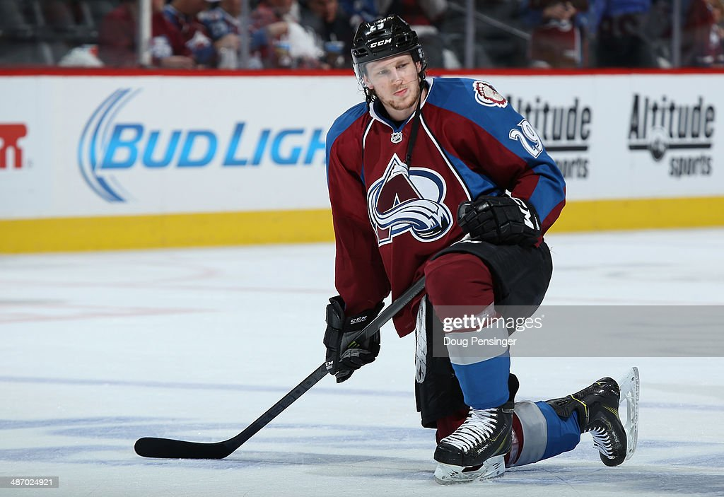 <a gi-track='captionPersonalityLinkClicked' href=/galleries/search?phrase=Nathan+MacKinnon&family=editorial&specificpeople=8610127 ng-click='$event.stopPropagation()'>Nathan MacKinnon</a> #29 of the Colorado Avalanche warms up prior to the game as he went on to score the game winning goal against the Minnesota Wild Game Five of the First Round of the 2014 NHL Stanley Cup Playoffs at Pepsi Center on April 26, 2014 in Denver, Colorado. The Avalanche defeated the Wild 4-3 in overtime to take a 3-2 game lead in the series.