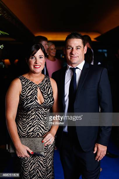 Nathan McCullum and wife Vanessa arrive for the New Zealand Cricket Awards at The Langham Hotel on April 1 2015 in Auckland New Zealand
