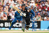 Nathan McCullum of New Zealand bats during the One Day International match between New Zealand and Sri Lanka at Hagley Oval on January 11 2015 in...