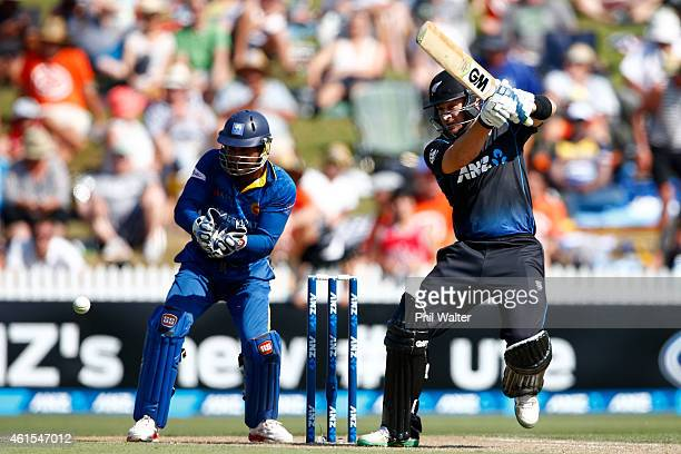 Nathan McCullum of New Zealand bats during the One Day International match between New Zealand and Sri Lanka at Seddon Park on January 15 2015 in...