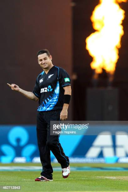Nathan McCullum of New Zealand celebrates after taking the wicket of Dwayne Bravo of the West Indies during the game two of the Twenty20 series...