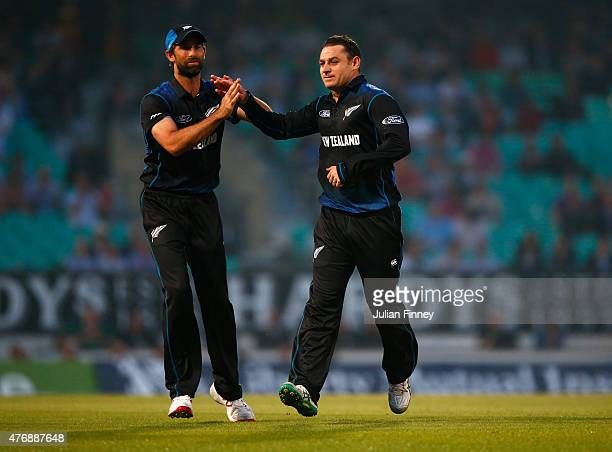 Nathan McCullum of New Zealand celebrates taking the wicket of Liam Plunkett of England during the 2nd ODI Royal London OneDay Series 2015 at The Kia...