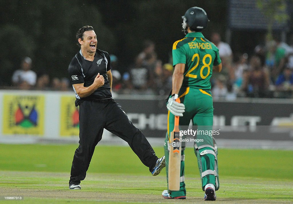 <a gi-track='captionPersonalityLinkClicked' href=/galleries/search?phrase=Nathan+McCullum&family=editorial&specificpeople=884481 ng-click='$event.stopPropagation()'>Nathan McCullum</a> of New Zealand celebrates the wicket of David Miller of South Africa for 14 runs during the 2nd One Day International match between South Africa and New Zealand at De Beers Diamond Oval on January 22, 2013 in Kimberley, South Africa.