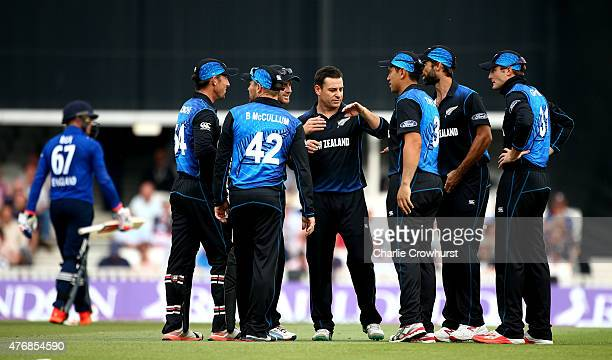 Nathan McCullum of New Zealand celebrates with team mates after claiming the wicket of Jason Roy of England during the the 2nd ODI Royal London...