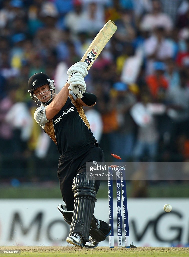 <a gi-track='captionPersonalityLinkClicked' href=/galleries/search?phrase=Nathan+McCullum&family=editorial&specificpeople=884481 ng-click='$event.stopPropagation()'>Nathan McCullum</a> of New Zealand is bowled by Lasith Malinga of Sri Lanka during the ICC World Twenty20 2012 Super Eights Group 1 match between Sri Lanka and New Zealand at Pallekele Cricket Stadium on September 27, 2012 in Kandy, Sri Lanka.