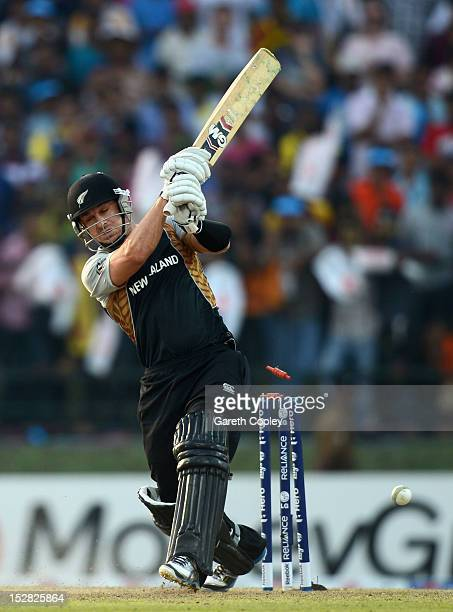 Nathan McCullum of New Zealand is bowled by Lasith Malinga of Sri Lanka during the ICC World Twenty20 2012 Super Eights Group 1 match between Sri...