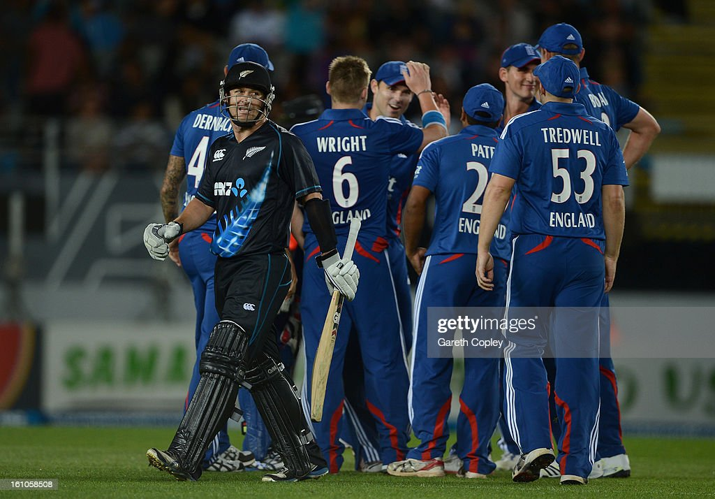 Nathan McCullum of New Zealand leaves the field after being dismissed by Luke Wright of England during the 1st T20 International between New Zealand and England at Eden Park on February 9, 2013 in Auckland, New Zealand.
