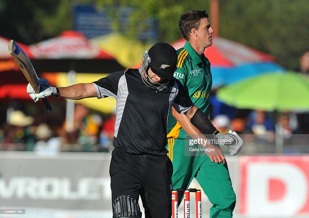 Nathan McCullum of New Zealand loses his wicket for 19 runs during the 2nd One Day International match between South Africa and New Zealand at De Beers Diamond Oval on January 22, 2013 in Kimberley, South Africa.