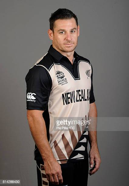 Nathan McCullum of New Zealand poses during the official photocall for the ICC Twenty20 World on March 8 2016 in Mumbai India