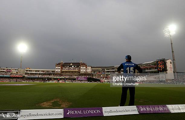 Nathan McCullum of New Zealand stand on the boundary edge as the rain clouds loom during the the 2nd ODI Royal London OneDay Series 2015 match...
