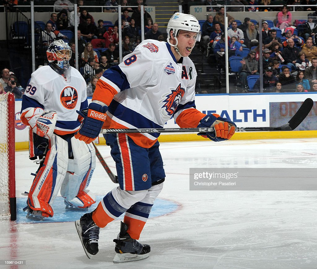 Nathan McIver #8 of Team White skates during a scrimmage match between players of the New York Islanders and Bridgeport Sound Tigers on January 16, 2013 at Nassau Veterans Memorial Coliseum in Uniondale, New York.