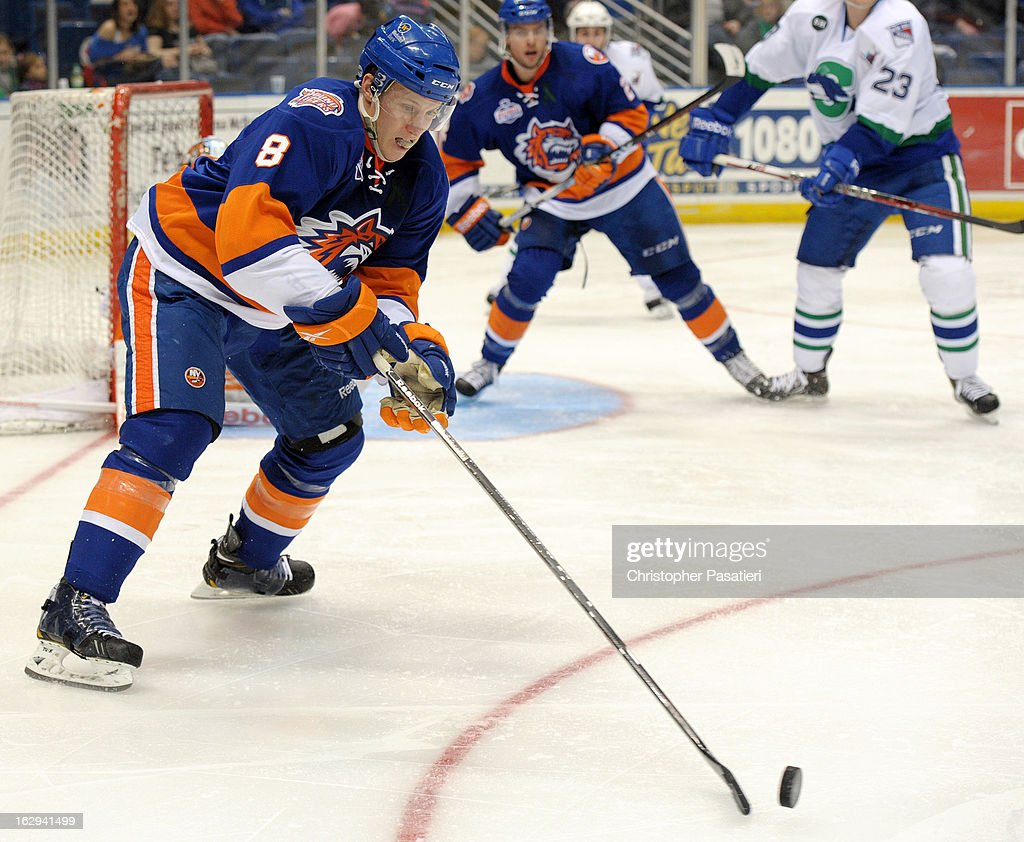 Nathan McIver #8 of the Bridgeport Sound Tigers clears the puck during an American Hockey League game against the Connecticut Whale on March 1, 2013 at the XL Center in Hartford, Connecticut.