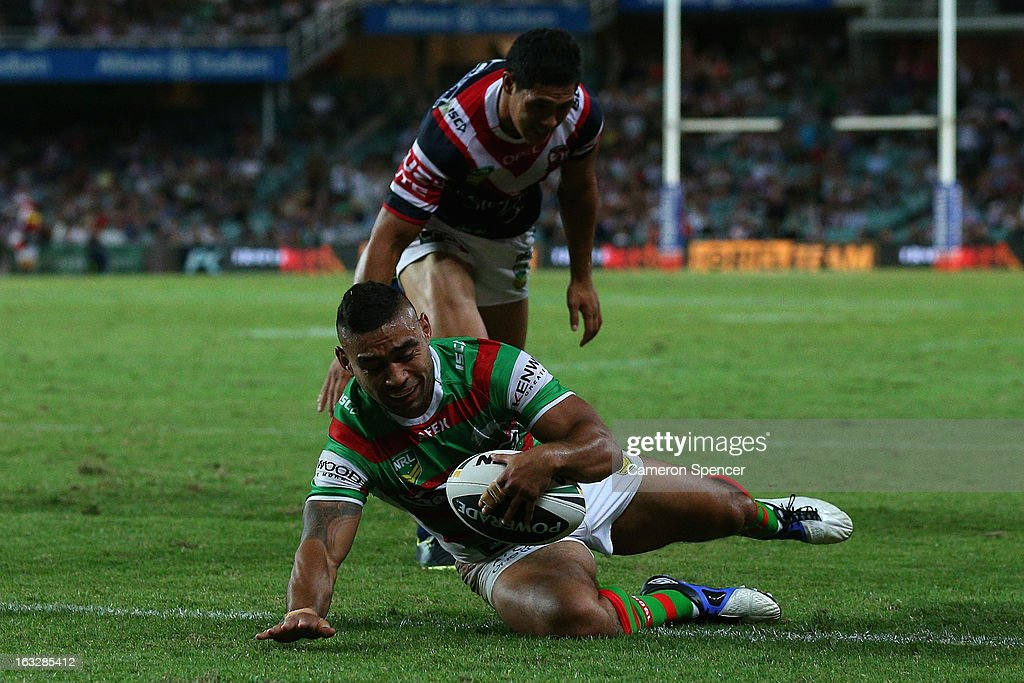 Nathan Merritt of the Rabbitohs scores a try during the round one NRL match between the Sydney Roosters and the South Sydney Rabbitohs at Allianz Stadium on March 7, 2013 in Sydney, Australia.