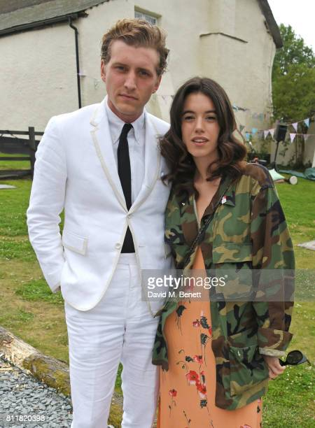 Nathan Mitchell and Gala Gordon attend Greta Bellamacina and Robert Montgomery's wedding on July 8 2017 in Exeter England
