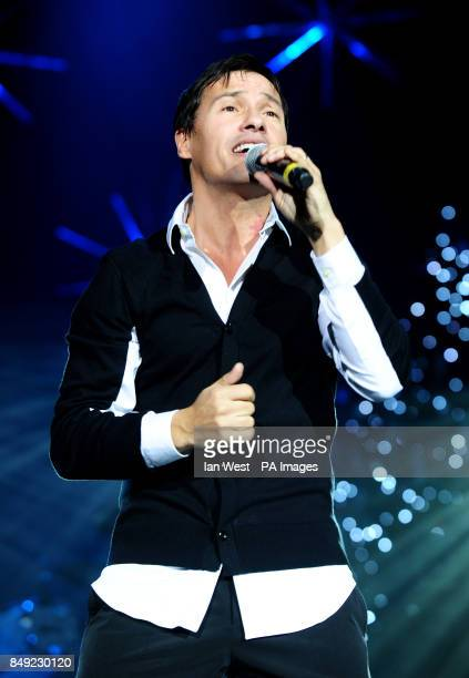 Nathan Moore of Brother Beyond performs during the Hit Factory Live Christmas Cracker concert at the O2 arena in London