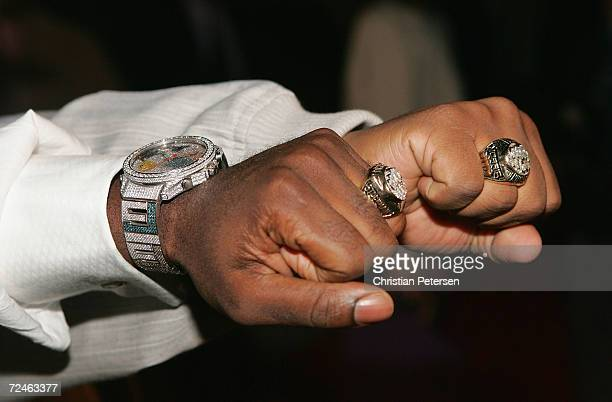 Nathan Morris and Shawn Stockman of Boyz II Men show off their Super Bowl rings at Super Bowl Playboy Party at the River City Brewing Company on...