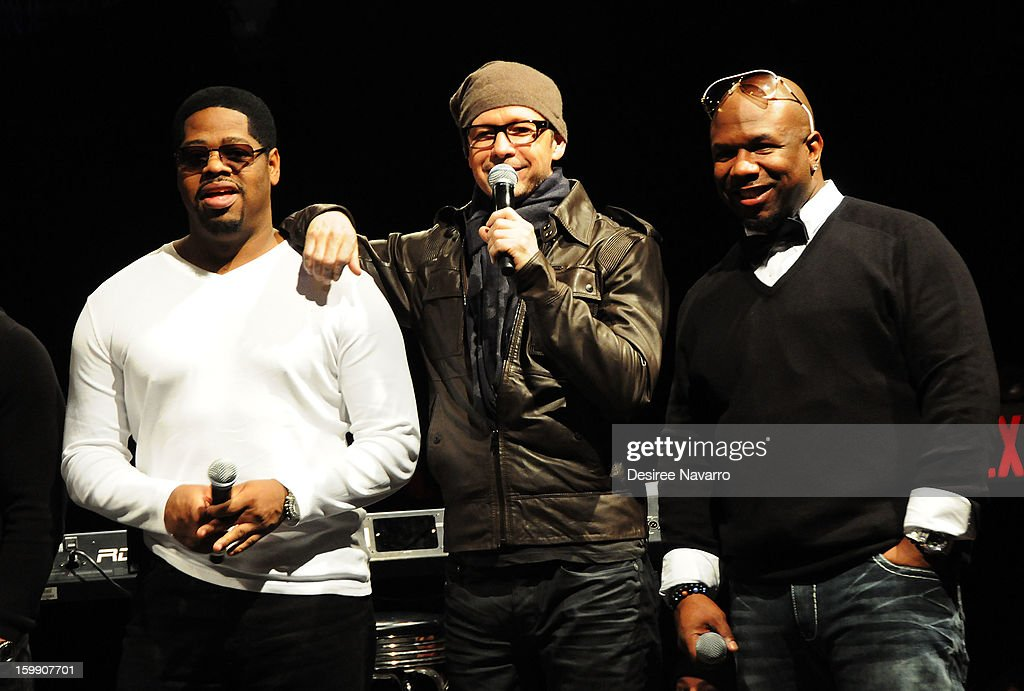 Nathan Morris of Boyz II Men, Donnie Wahlberg of the New Kids On The Block and Wanya Morris of Boyz II Men speak at the New Kids On The Block Special Announcement at Irving Plaza on January 22, 2013 in New York City.