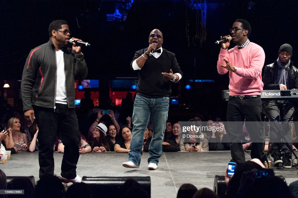 Nathan Morris, Wanya Morris, and Shawn Stockman of Boys II Men attend the Package Tour Special Announcement at Irving Plaza on January 22, 2013 in New York City.