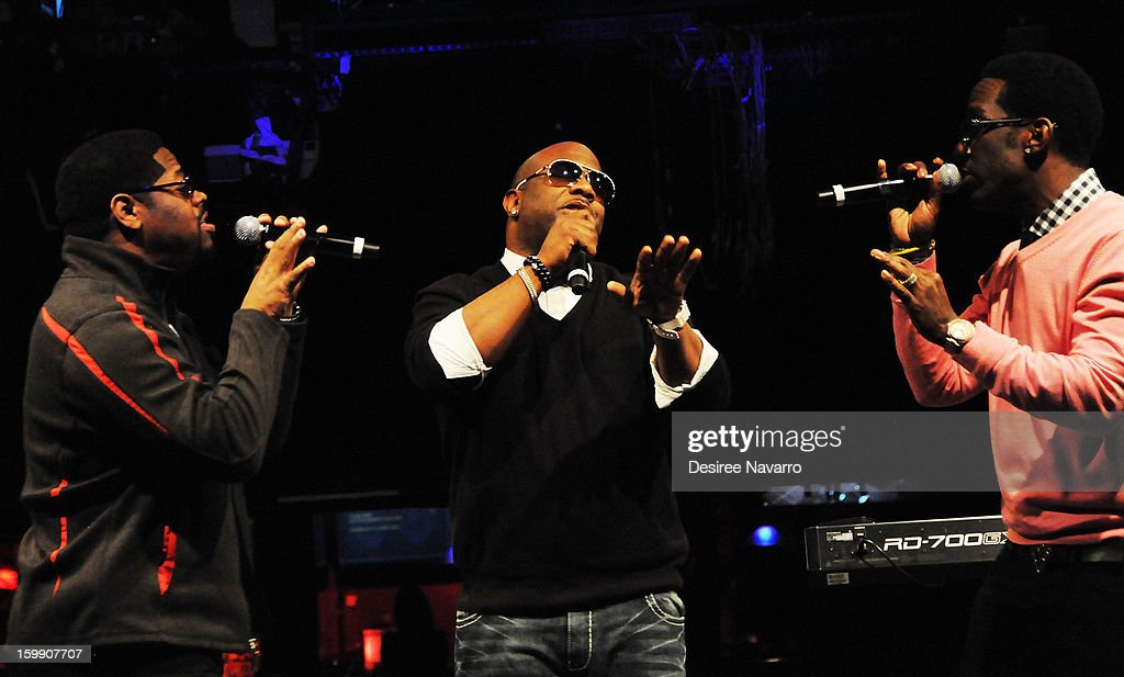 Nathan Morris, Wanya Morris and Shawn Stockman of Boyz II Men perform at the New Kids On The Block Special Announcement at Irving Plaza on January 22, 2013 in New York City.