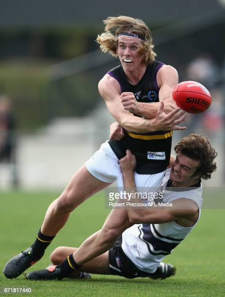 Nathan Oakes of the Bushrangers handballs during the round four TAC Cup match between the Northern Knights and the Murray Bushrangers at RAMS Arena...